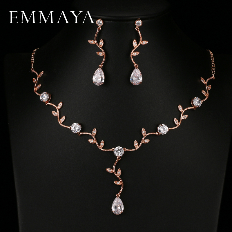 EMMAYA Rose Gold Color Zircon Crystal Bridal Jewelry Sets Leaf Shape Choker Necklace Earrings Wedding Ornament for Women