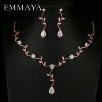 EMMAYA Rose Gold Farbe Zirkon Kristall Brautschmuck Sets Blattform Halsband Halskette Ohrringe Hochzeit Schmuck für Frauen