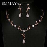 EMMAYA Rose Gold Color Zircon Crystal Bridal Jewelry Sets Leaf Shape Choker Necklace Earrings Wedding Jewelry