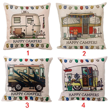 Home  Stylish Happy Campers  Waist Throw  Pillow Case