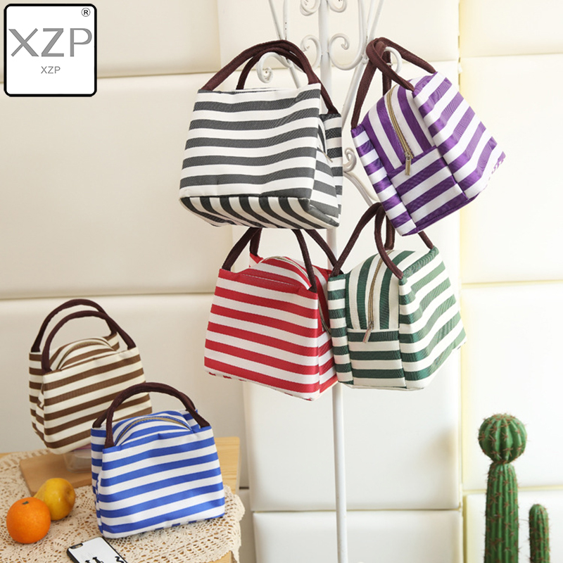 XZP Striped Lunch Box For Women Kids Men Insulated Tote Bag Thermal Cooler Food Lunch Bags Waterproof Handle Carrying Lunch Case