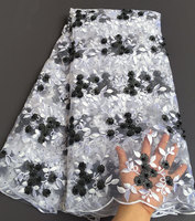 White Black Wholesale African French Lace Fabric Net Feathers Design With Stones Guipure Lace Borders 5