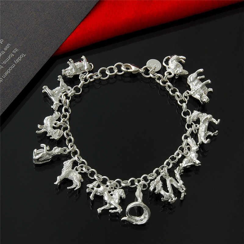 כסף 925 צמיד לנשים תכשיטים מזלות קסם צמידים & צמידי בעלי החיים Pendents יום הולדת מסיבת מתנה במפעל מחיר