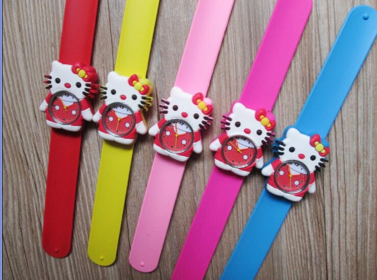 все цены на  1pcs/lot ! Hot Pink Color Hello Kitty Slap Watch For Girls Cartoon Snap Watch Silicone Rubber Wrist Watch  онлайн