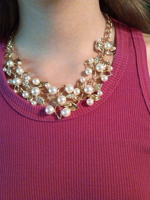 Pearl Rhinestone with flowers Metal Gold/Silver