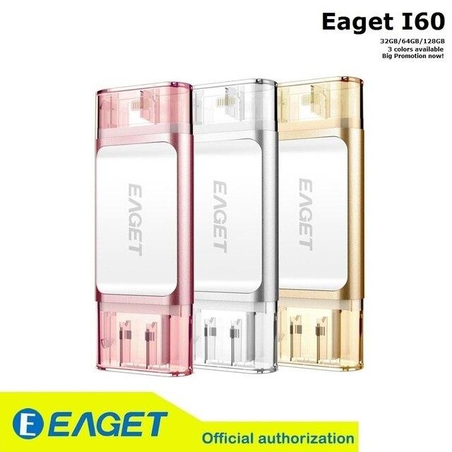 Eaget i60 para iPhone 6 6s Plus 5 5S 32GB 64G 128 GB memoria mini USB 16gb 3.0 Flash drives storage 2.0 Drive OTG USB pen Drive para MacBook ordenador en promoción sapatos de salto alto canivete pendrive española