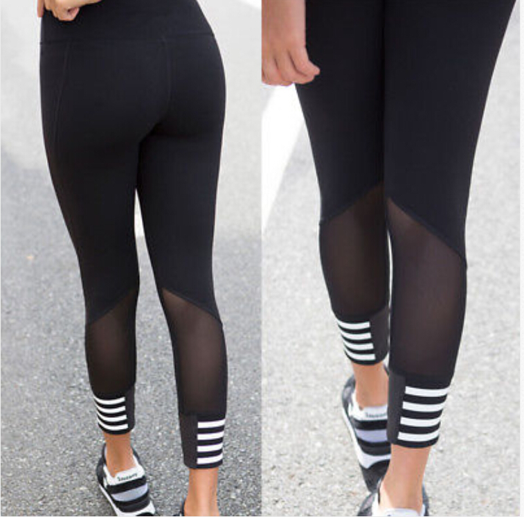 New Women Clothing Mesh Sheer Striped Yoga Fitness Leggings Running Gym Stretch Sports High ...