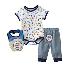 Summer 2018 3 Pcs lot Baby Clothing Sets Cartoon Animal Baby Boy Clothes Newborn Baby Clothes Set Cotton Baby Girl Clothing cheap O-Neck Unisex REGULAR Mother nest Fashion Fits true to size take your normal size 100 Cotton FM001 Pullover Short Woolen