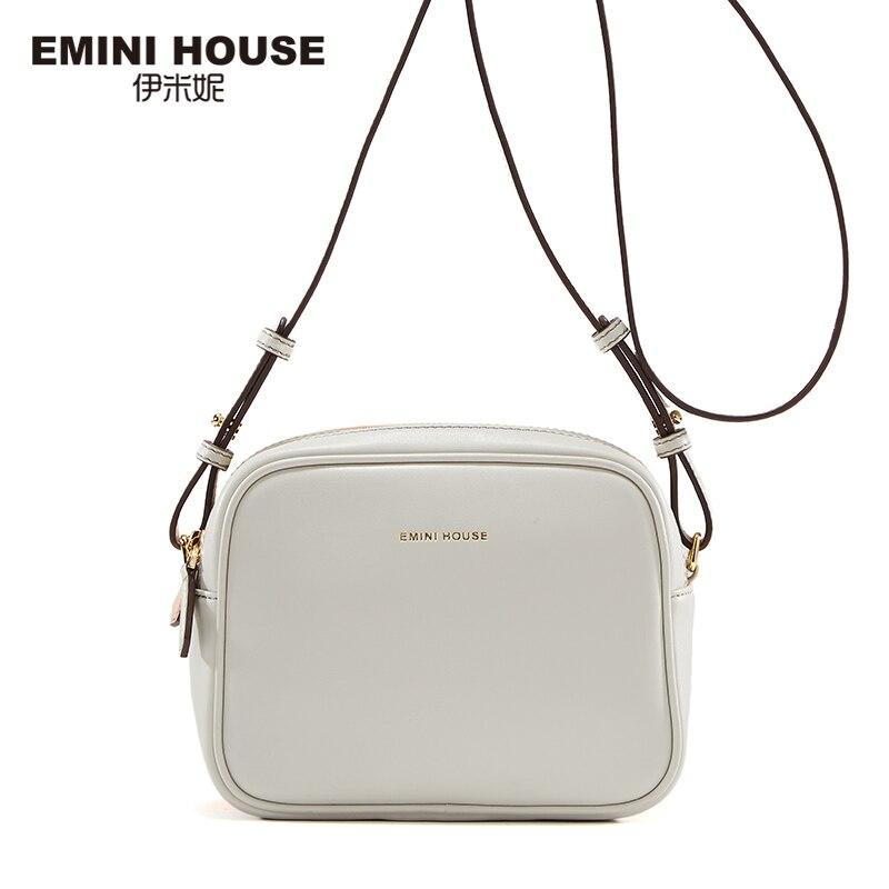 EMINI HOUSE Fashion Split Leather Women Crossbody Bag Double-Side Color Flap Bag