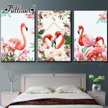 FULLCANG triptych diy 5d diamond painting flamingo and flowers 3 pieces mosaic cross stitch embroidery kits full drill G1294