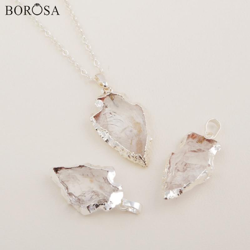 BOROSA Jewelry Rough Natural White Quartz Carved Arrowhead Pendant Necklace Creative Gifts