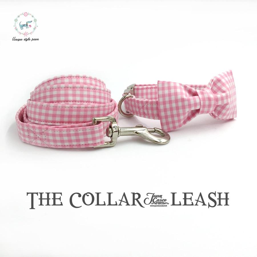 Merah muda dan putih kerah anjing dan tali ditetapkan dengan dasi kupu-kupu, Kustom pribadi hewan peliharaan disesuaikan 100% katun anjing hadiah ulang tahun