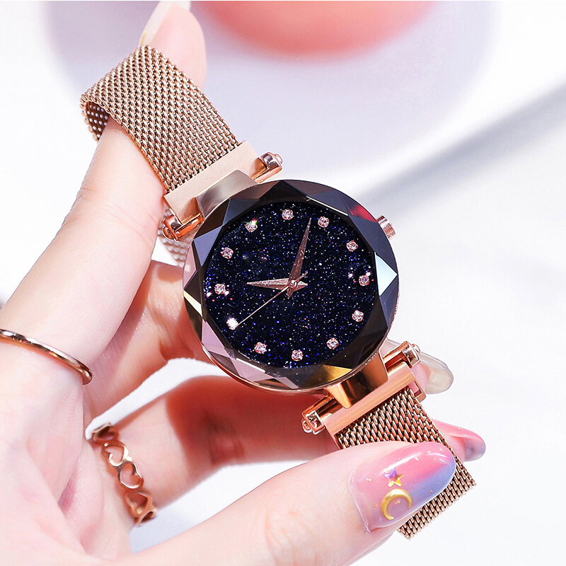 2018 Luxury Women Minimalist Trend Watch Japan Quartz Rose Gold Stainless Steel Band Magnetic Clasp Wristwatches zegarek damski