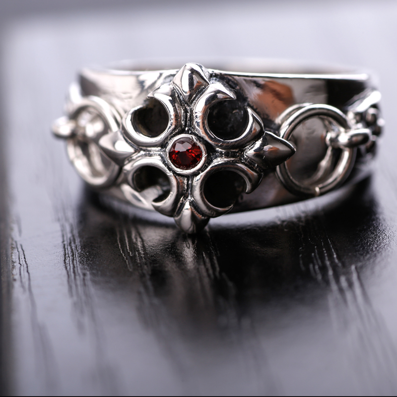 silversmith old silver ring retro Silver 925 silver cross flower ring finger ring male fashion personality