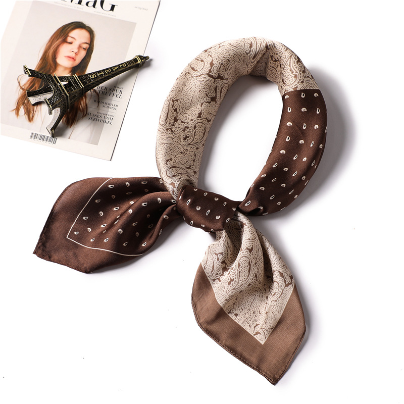 Silk Scarf Bandana Hijabs Square Shawl Neck-Hair Satin Print Office Summer Luxury Brand