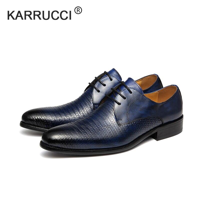 Casamento Karrucci Crocodilo Formal Outono Blue Vestido Vaca Primavera Genuíno Azul Partido Artesanal Sapatos Impressão Sapato Couro Homens De Do rwrC64zxq