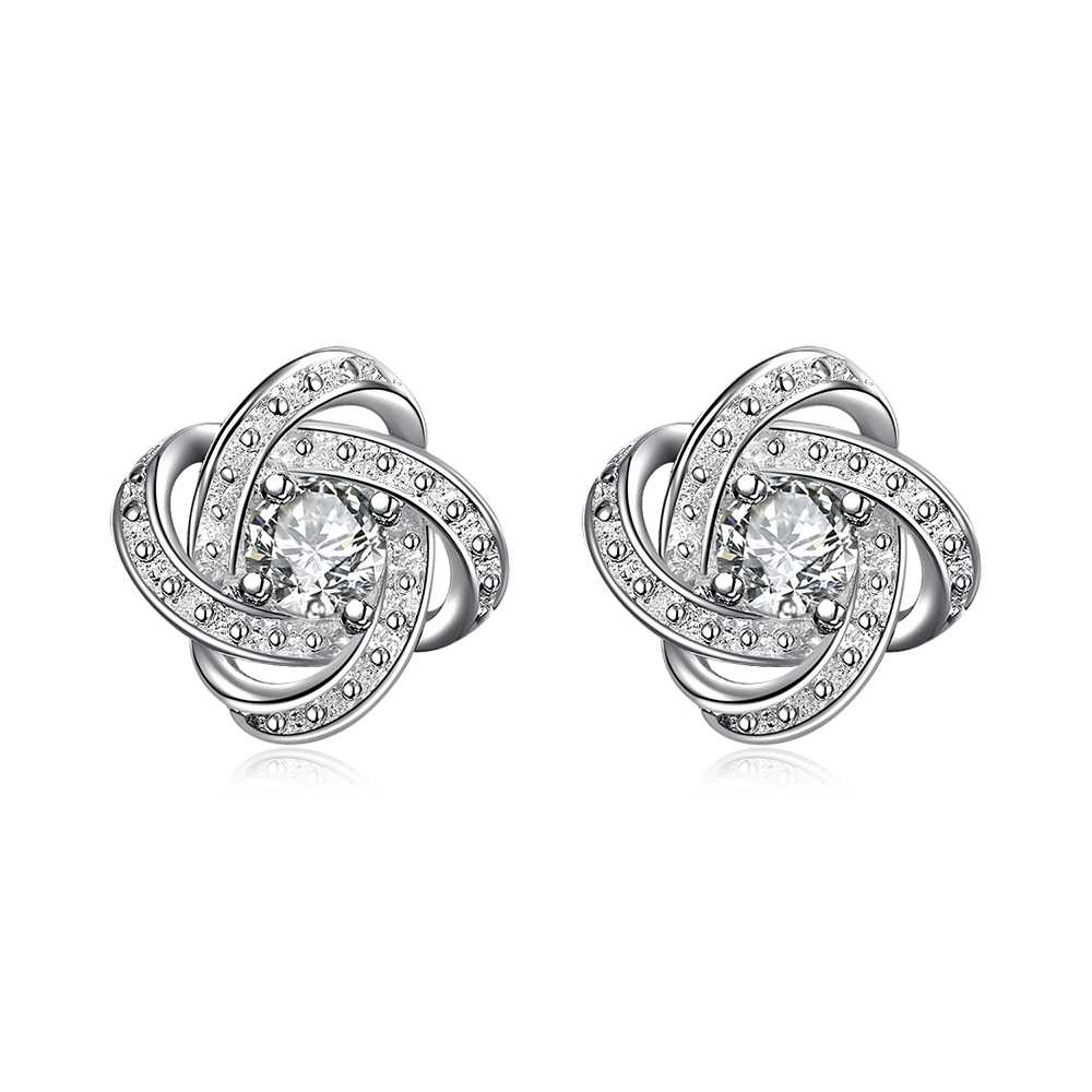 Dahu Rico Brand Flower Women Bijou Lotes Al Por Mayor  Korean Oorringen Allibaba Da037#Silver Stud Earrings