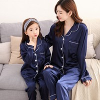 Long Sleeve Matching Family Outfits Silk Soft Mom Girls Clothing Mother Son Pajamas Set High Quality Printing Kids Nightwear