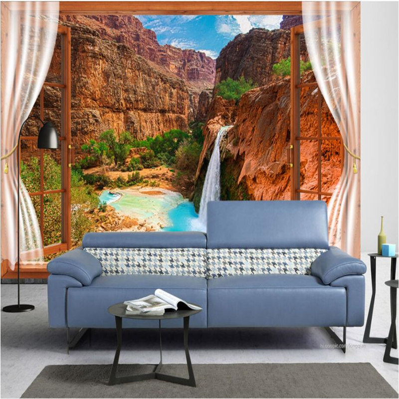 beibehang Wallpaper Custom Living Room Wallpaper Bedroom Sofa Mural Window Waterfall 3D TV Background Wall Papel de parede custom 3d murals tropical texture with toucans and hummingbirds papel de parede living room sofa tv wall bedroom wallpaper