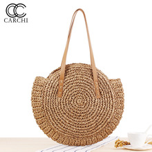 2a85623cc VRTREND tejida a mano redonda mujer bolso de hombro bolso bohemio de paja  de verano playa bolsa de compras mujer bolso de mimbre.