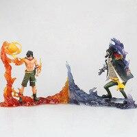 Huong Anime Figure 15 CM 2PCS/SET One Piece Portgas D Ace VS Marshall D Teach PVC Action Figure Collectible Model Toy Doll