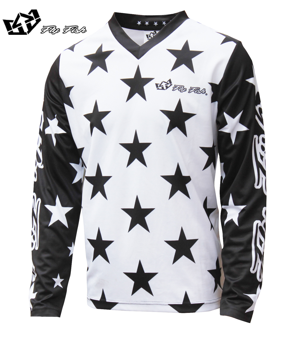FLY FISH Racing GP Mens Jersey STAR White / Black MX MTB Off Road Mountain Bike DH Bicycle moto Jersey DH BMX motocross jersey
