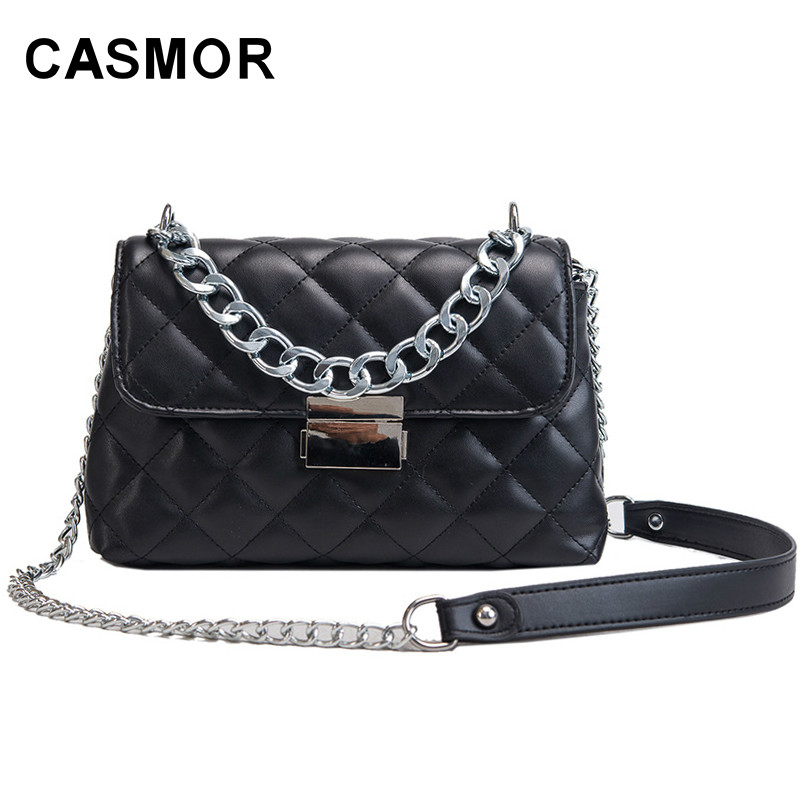 CASMOR Brand Women 39S Shoulder bag Famous Designer Leather Ladies Fashion bag 2019 Evening Mini Chains Diamond Lattice Handbag