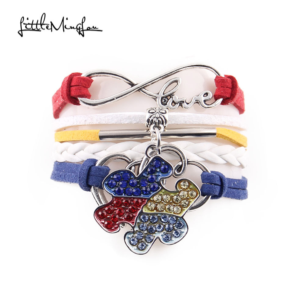 Little MingLou Infinity Love Hope Autism Awareness Bracelet Rhinestone Puzzle Piece Charm men wrap bracelets bangles