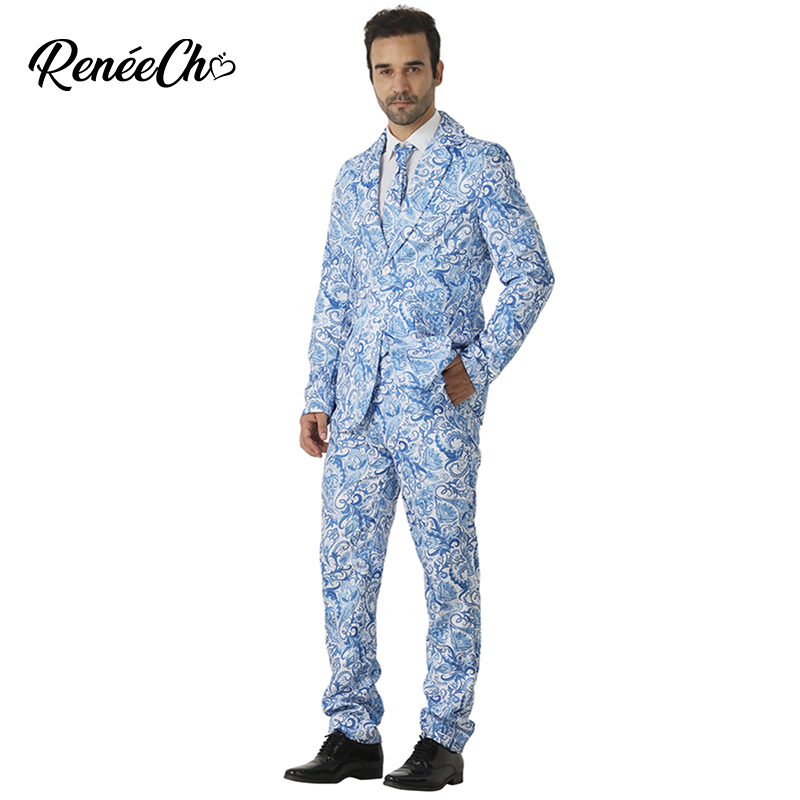 Christmas Costume For Adult Men`s Amoeba Costume Suit Blue Flower mens suits blazers for Stage performance halloween costume