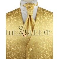 الشحن مجانا جودة عالية الذهب الرجال بدلة سهرة الصدرية و أسكوت التعادل مجموعة