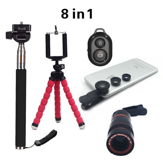 2016 nuevo 8in1 telescopio del zumbido 8x lente de la cámara + min tripoid + 3in1 lente clip + selfie stick monopod + shutter bluetooth para iphone huawei