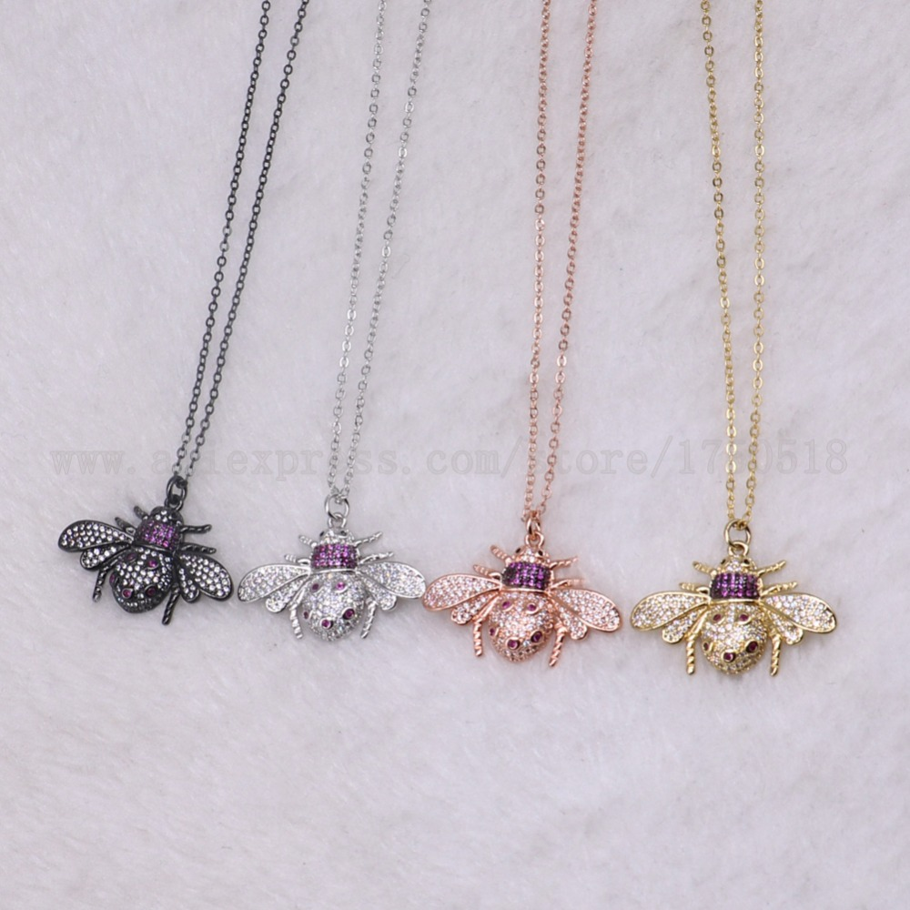 5 strands bugs necklace fly insects for lady Bee pendants small size jewelry 18 mix color necklace pets beads 3218