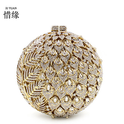 XIYUAN BRAND luxury and fashion pineapple shape full diamond evening shoulder bags handbags day clutch wallets for women