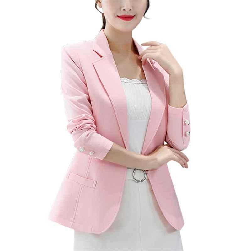 ピンク、黄色、黒女性のブレザー 2018 春秋つのボタンプラスサイズ BlaserOffice 女性のエレガントなブレザー長袖 F1