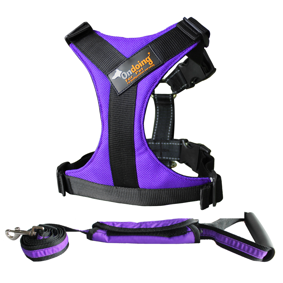 Dog Harness with Front Clip Walking Pet .Oxford Padded Vest Chest .With Traction Rope