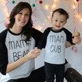 2017 Valentine T Shirt Summer Spring Casual Dad And Kids T Shirt  Mama bear Print  O-Neck Cotton T-Shirt Ready