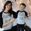 San Valentín 2017 Camiseta Del Verano Del Resorte Ocasional Papá Y Los Niños T Camisa de Mama oso de Impresión Del O-cuello Camiseta de Algodón Listo