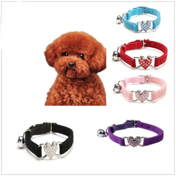 Cute Crystal Elastic Dog Collar Velvet Bell Heart Shape Pet Necklacce