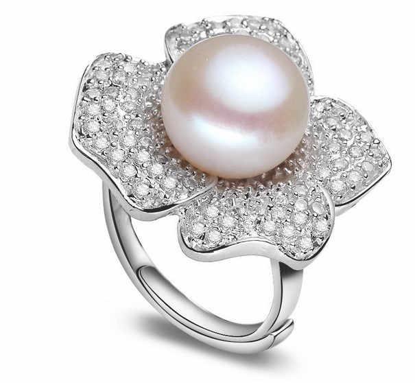 Регулируемый пресноводный жемчуг кольцо 11-12 мм супер большой Размеры Цветочные украшения кольцо Мода палец горячей для Для женщин