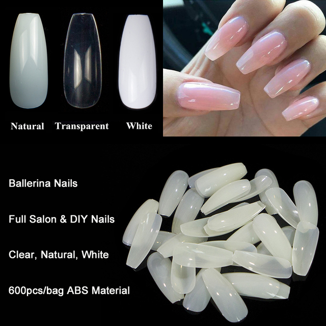 600pcs/Bag Ballerina Nail Art Tips Transparent/Natural False Coffin ...