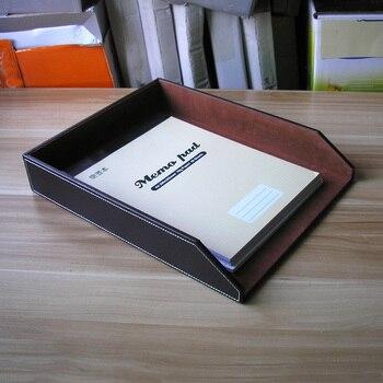 علبة تخزين ملفات مكتبية خشبية a4 مصنوعة من الجلد علبة حفظ مستندات ورقية صواني تنظيم حامل أرفف بني 225B