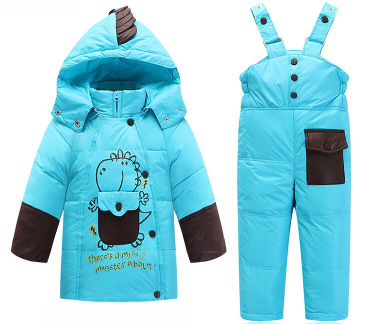 Kids Clothes Baby Boys Girls Winter Down Coat Children Warm Jackets Toddler Snowsuit Solid Outerwear Coat+Pant Clothing Set 2-5Y