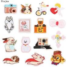Prajna Flying Pig Dog Iron On Patches Kitten Puppy Embroidered Camera Cartoon Stickers Clothing Rabbits Badges For Jeans Decal(China)