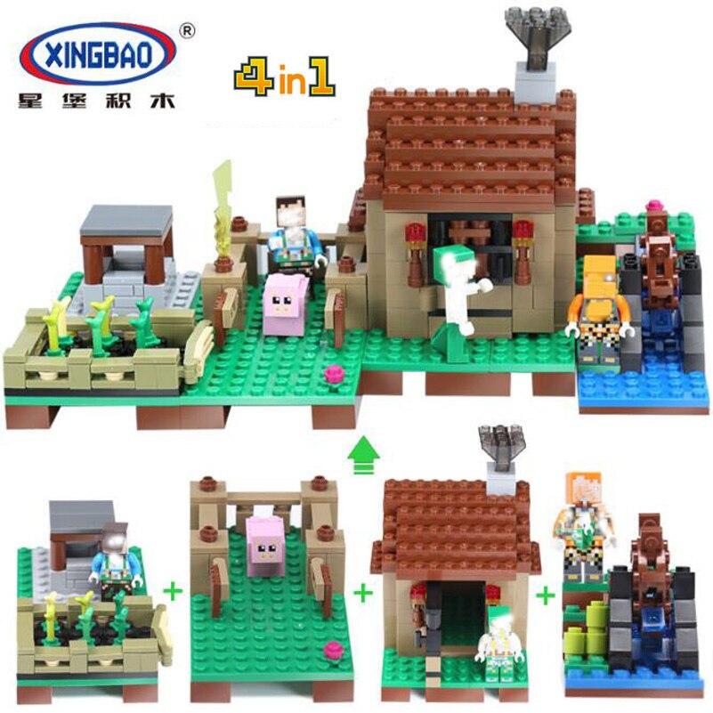 Xingbao Village Building Blocks My World Series House Figures Pig Waterwheel DIY Block Toys Hobbies For Children Christmas Gifts sonny angel mini figures easter series 6pcs set toys christmas