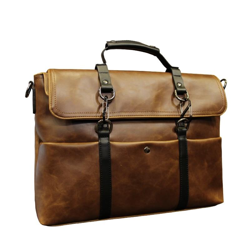 GUMST Brand Men Laptop Bag Briefcase Fashion Men's Business Bags Casual Crazy Horse PU Leather Messenger Bag for Men