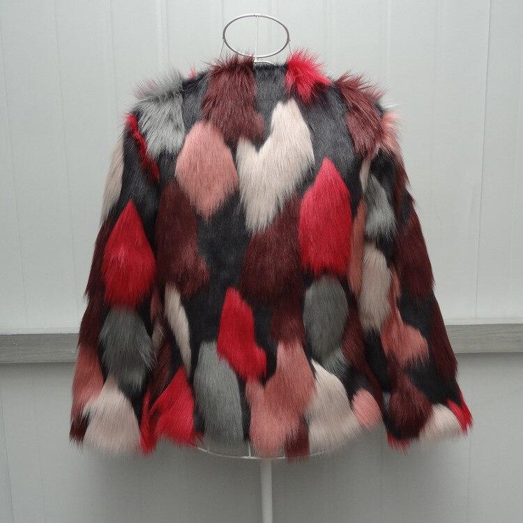 Women Mixed Color Man-Made Fur Jacket Casual Plus Size Faux Fur Coats Female Short Section Fur Outwear Casaco De Pele Falso Ck43 9