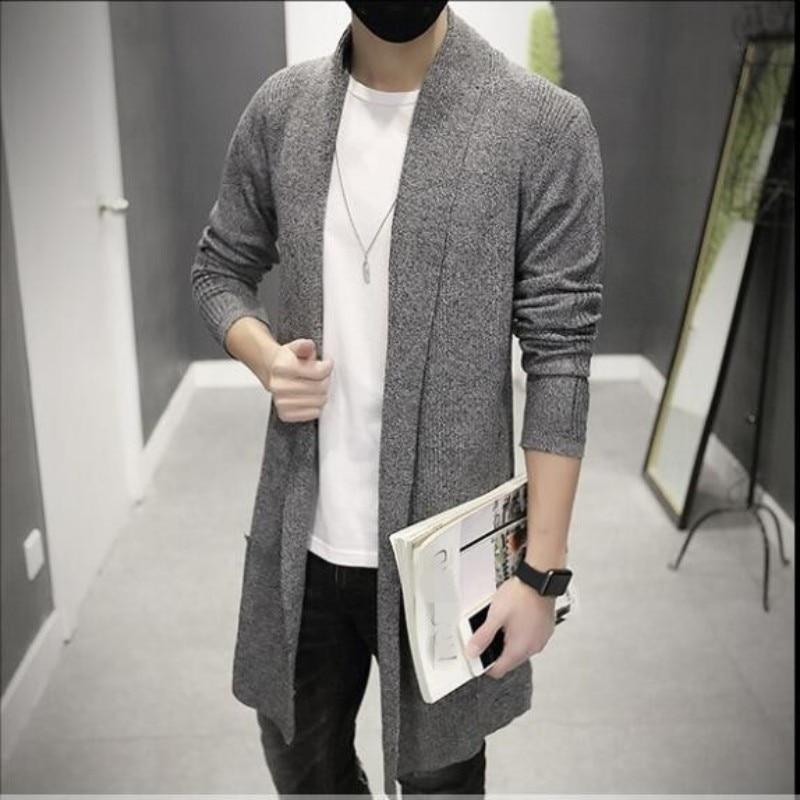 2019 New Fashion Mens Cardigan Slim Fit Wool Long հագուստ - Տղամարդկանց հագուստ - Լուսանկար 6
