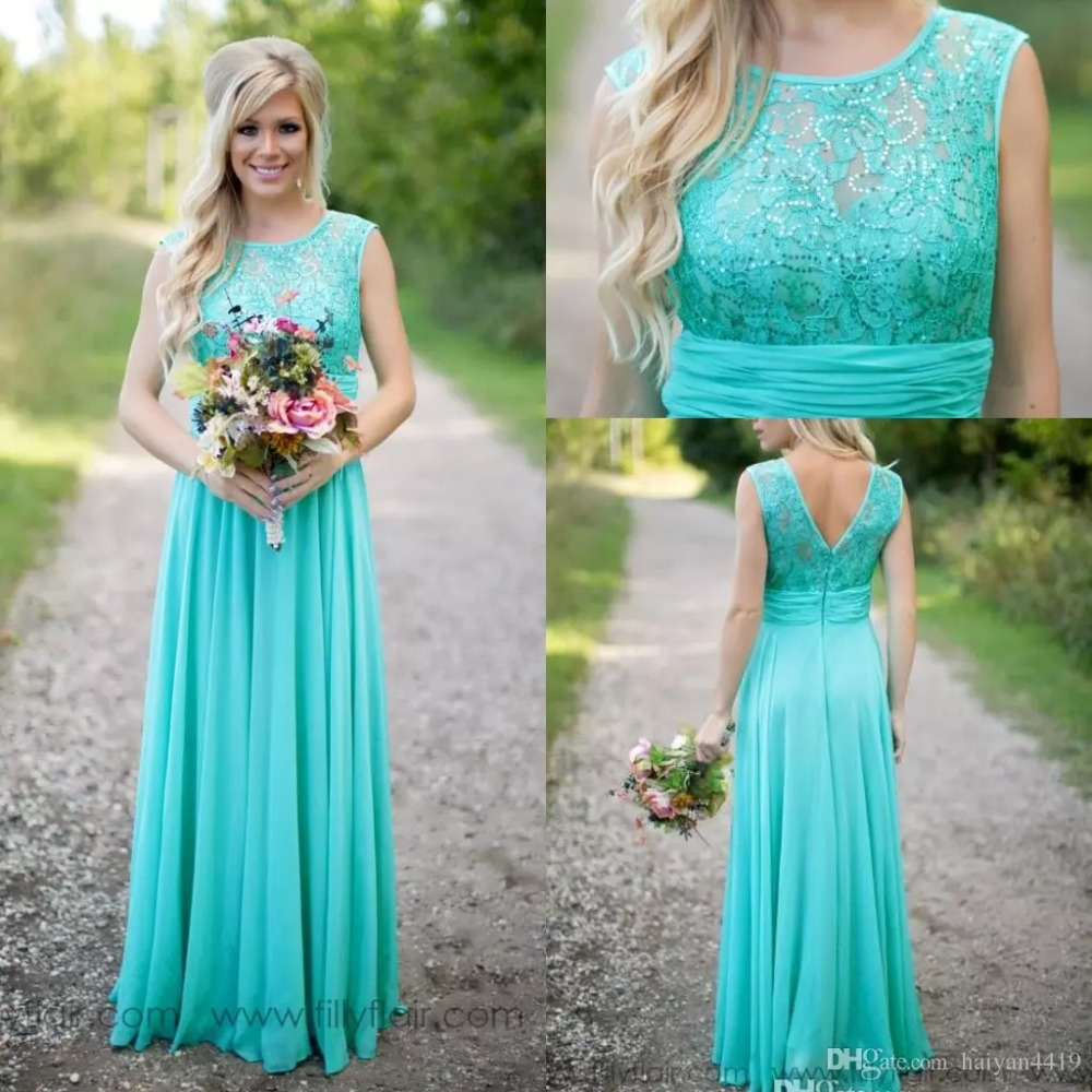 vestido longo Lace Beaded Chiffon Long Maid of Honor Wedding Party gown 2018 Cheap Country Turquoise Mint   Bridesmaid     Dresses