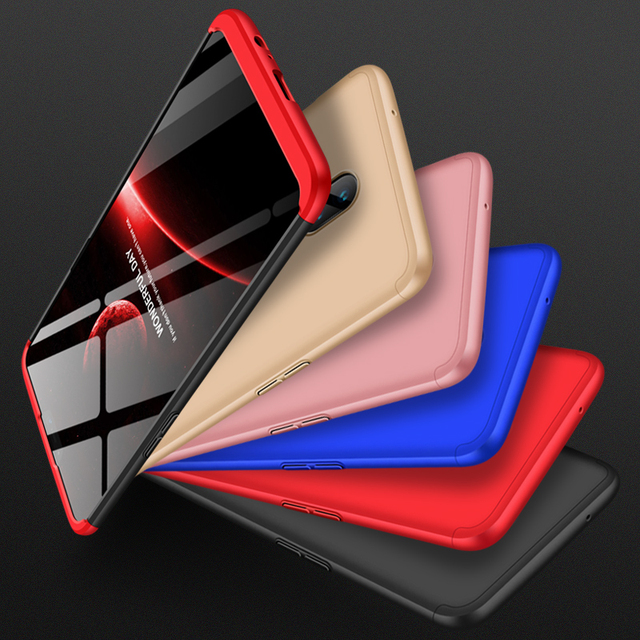 GKK Case for Oneplus 6 Case 360 Full Protection Shockproof Matte Comfortable Feel Hard PC 3 In 1 for oneplus6 Cover Free Glass 5