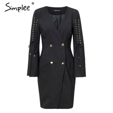 Simplee Elegant lace up split blazer women dress Autumn 2018 double breasted white dress Office slim ladies dresses vestidos